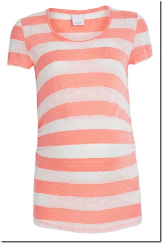 Allison Mix Stripe SS Jersey Top Neon Pink